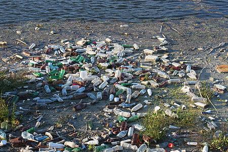 瓶, 储, 浮动, 垃圾, 塑料, 污染, 河