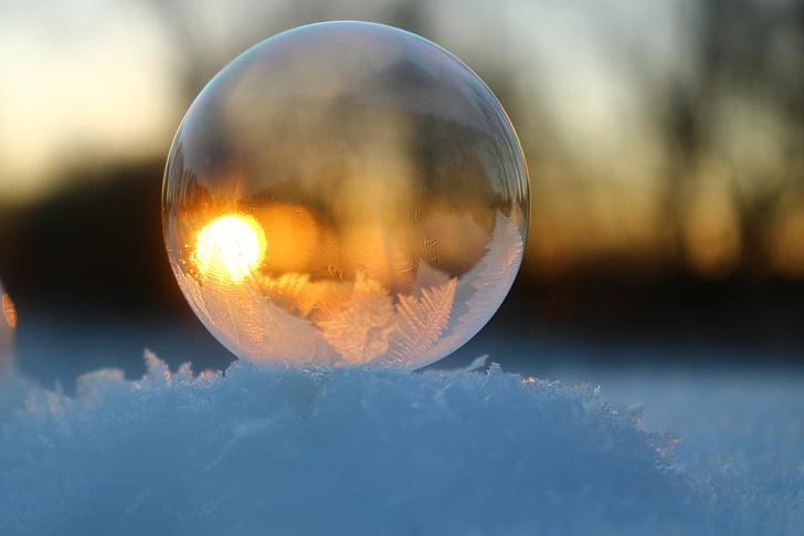bombolla de sabó, neu, gelades, l'hivern, fred, glaçat, bombolla