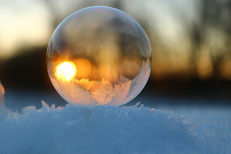 soap bubble, snow, frost, winter, cold, frosted, bubble
