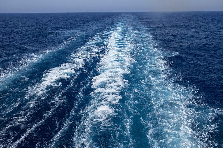 ทะเล, น้ำ, เรือ, คลื่น, น้ำชายหาด, โอเชี่ยน