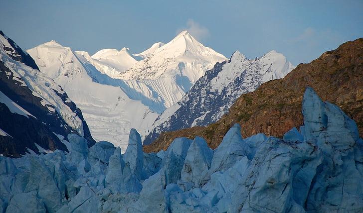 pics, Alba, gamma Fairweather, Margerie glacera, Badia de la glacera, Parc Nacional, Alaska