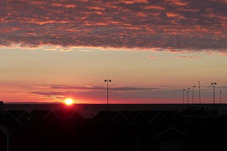 posta de sol, torna la llum, vermell, cel, Mar, abendstimmung, cel de nit