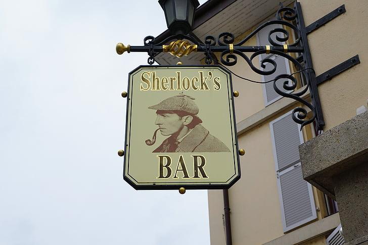 bar, shield, scherlock, depend, pub, cafe, note