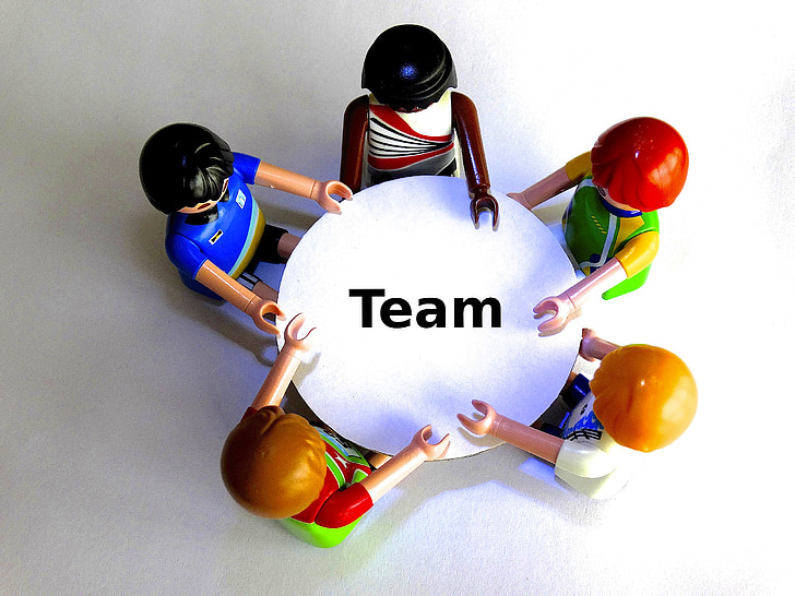 екип, таблица, Playmobil, кръгла маса, беседа, консултации, маркетинг
