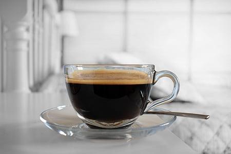 cafè, aliments, begudes, esmorzar, marró, blanc, Copa