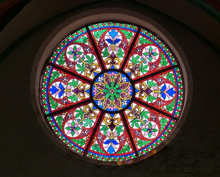 finestra de l'església, finestra, roseta, finestra de vidre, Vitrall, Art, color