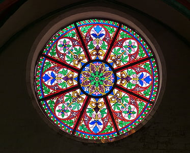 Crkveni prozor, prozor, rozeta, staklo prozora, vitraž prozora, umjetnost, boja