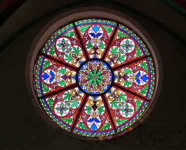 kirken vindu, vinduet, rosett, glassvindu, Glassmaleri, kunst, farge
