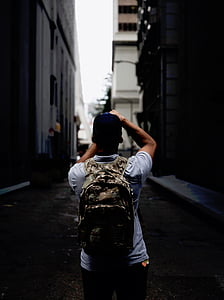 street, alley, people, man, guy, photographer, backpack