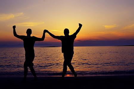 silhouette, seaside, seascape, dancing, greek dancing, sunset, sea