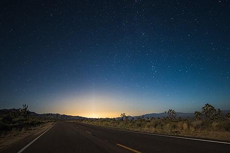 paisatge, fotos, carretera, Alba, cel, estrella, posta de sol