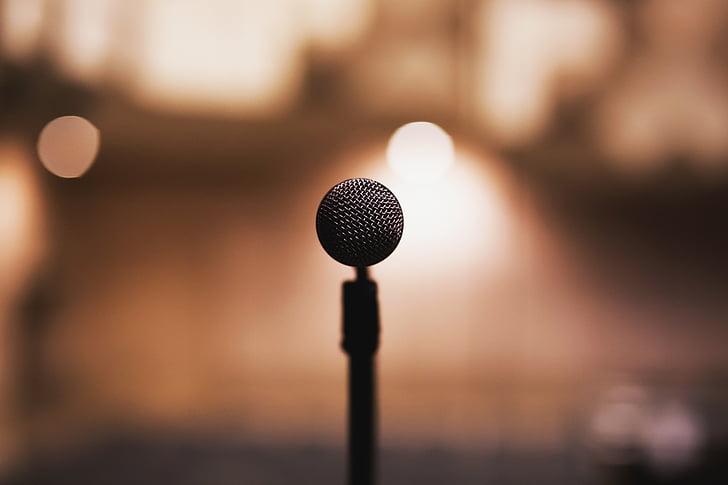 черный, конденсатор, микрофон, музыка, аудио, подкаст, музыкант