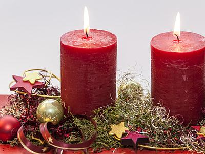 Advent, második gyertya, karácsony előtt, gyertya lángja, gyertya, dekoráció, Karácsony