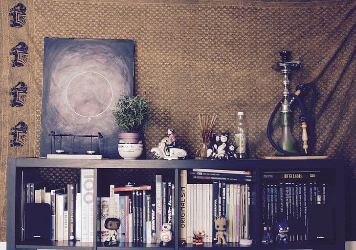 art, bookcase, books, decoration, illustration, indoors