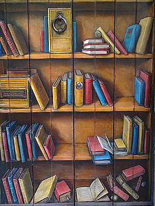 door, painted, decoration, bookshelf, books, book, library