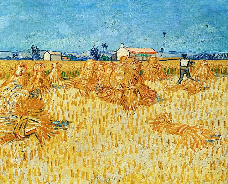 Vincent van gogh, collita, palla, fenc, treball de camp, granja, cultiu