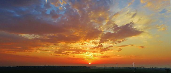 soluppgång, morgon, Sky, solnedgång, naturen, solen, skymning