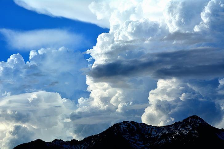 pics, cel, núvols, núvols, natura, temps, estat d'ànim de temps