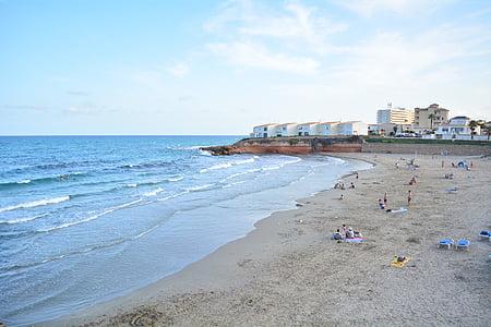 plajă, Spania, mare, coasta, nisip, Marea albastră