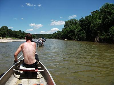canoë-kayak, rivière Brazos, au Texas, activités de plein air, coup de soleil, protection solaire, activité