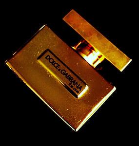 Perfum, fragància, d'or, brillantor, ampolla de vidre, polvoritzador, Dolce gabbana