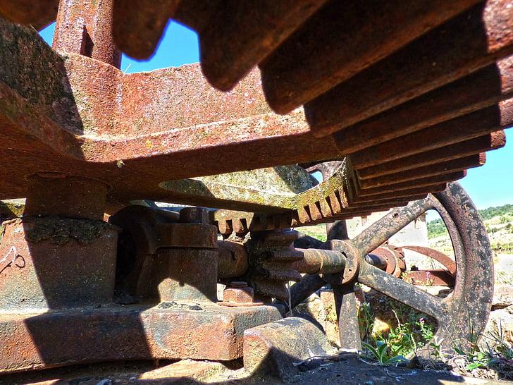 mécanisme de, machine, Gear, bien, pignon, vieux, fer forgé
