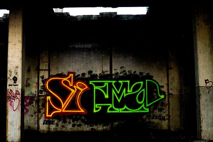 graffiti, Art, neon, fal, spray festék, éjszaka, szöveg