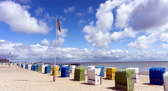 Северное море, острове föhr, шезлонг, отливы, восстановление, небо, досуг
