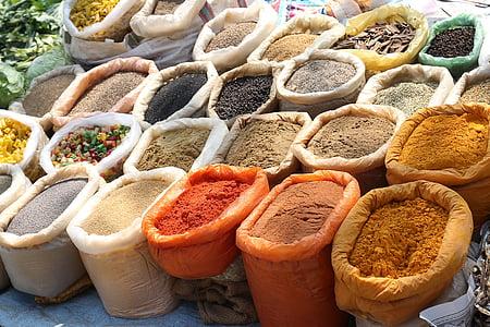 indiaanse kruiden, specerijen, Indiase, voedsel, ingrediënt, koken, pittige