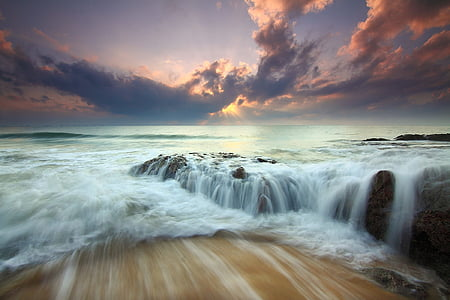 sunrise, dramatic sky, seascape, water motion, sea, sunset, wave