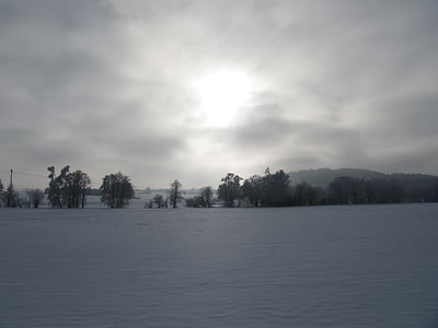 winter, landscape, sky, snow, clouds, wintry, nature