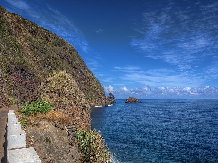Madeira, csókok, tenger, rock, óceán, sziklás part, víz