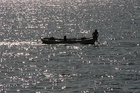 fisherman, boat, dam