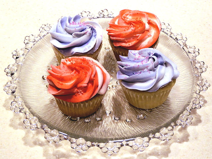 cupcakes, white cake, colorful frosting, sweet, food, dessert, gourmet