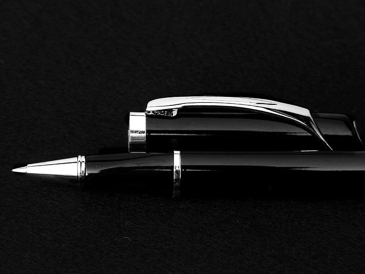 stylo, noir et blanc, noir, professionnel, le Bureau de la