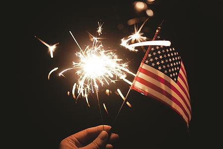 4 tháng bảy, cờ Mỹ, bắn pháo hoa, lá cờ, Dom, Ngày độc lập, sparkler
