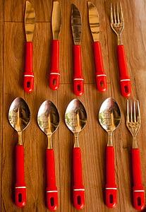 Cullera, forquilla, ganivet, plats, coberteria, Restaurant, sopar