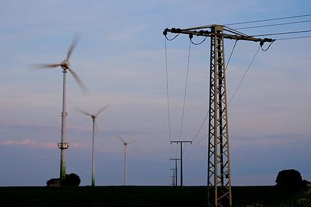 năng lượng, hiện tại, điện, đường dây điện, cáp, củng cố, cảnh quan