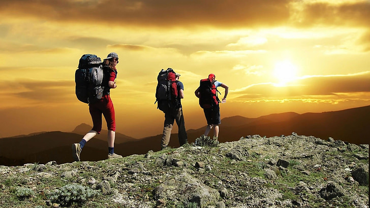 excursionistes, muntanya, posta de sol, Senderisme, motxilla, pic, paisatge
