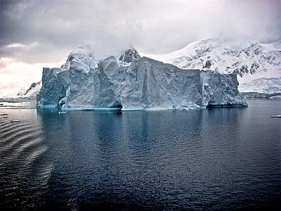 cold, ice, iceberg, mountain, ocean, sea, water