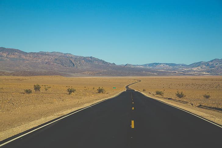 άγονη, έρημο, εθνικής οδού, τοπίο, βουνά, φύση, φυτά