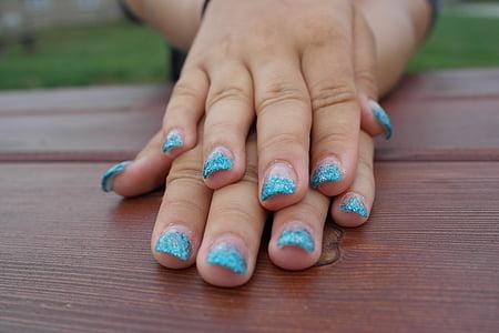 mans, ungles de gel, l'estiu, bellesa, noia, artificial, dones