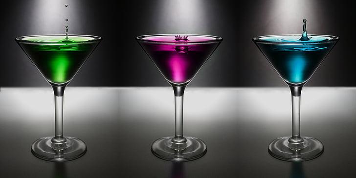 Martini, csepp, víz, Colo, ital, alkohol, üveg
