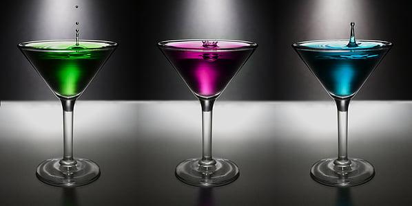 Martini, damla, su, Colo, içki, alkol, cam