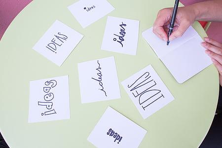 Brainstorm, ideeën, notities, pen, brainstormen, Business, idee concept