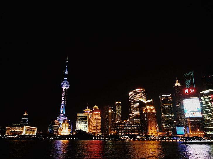 Shanghai, Hiina, pärl Orient, Öine vaade, öö, Huangpu jõe, kaasaegne