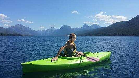 kayak, jeune fille, Loisirs, sport, en plein air, eau, kayak