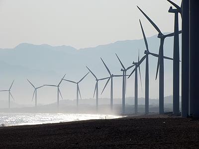 plaj, Rüzgar Çiftliği, Bangui, Ilocos norte, Alternatif elektrik, Filipinler, yeşil enerji