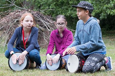 drumming, children, drumming children, outdoors, people, child, nature