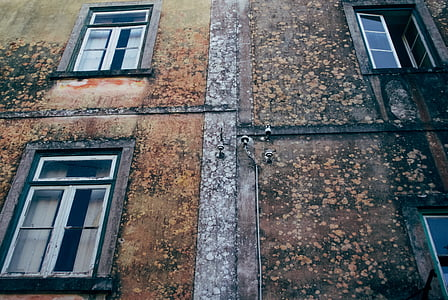 closed, windows, brown, concrete, building, home, house